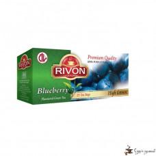 Зелёный чай Rivon 2г*25 пакетов «Черника»
